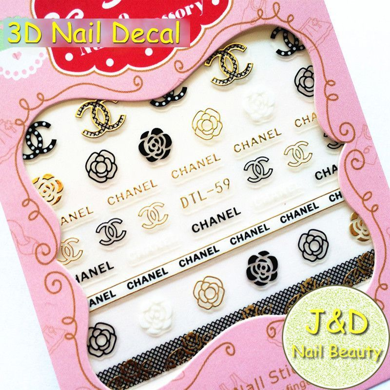 3d Coco Chanel Design Nail Decal Transfer Stickers