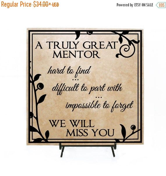 Truly Great Mentor Plaque Retirement Sign With Quote Thank You