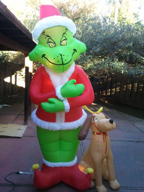 gemmy airblown inflatable blow up grinch max christmas yard display 8 ft - Christmas Blow Up Decorations Outside