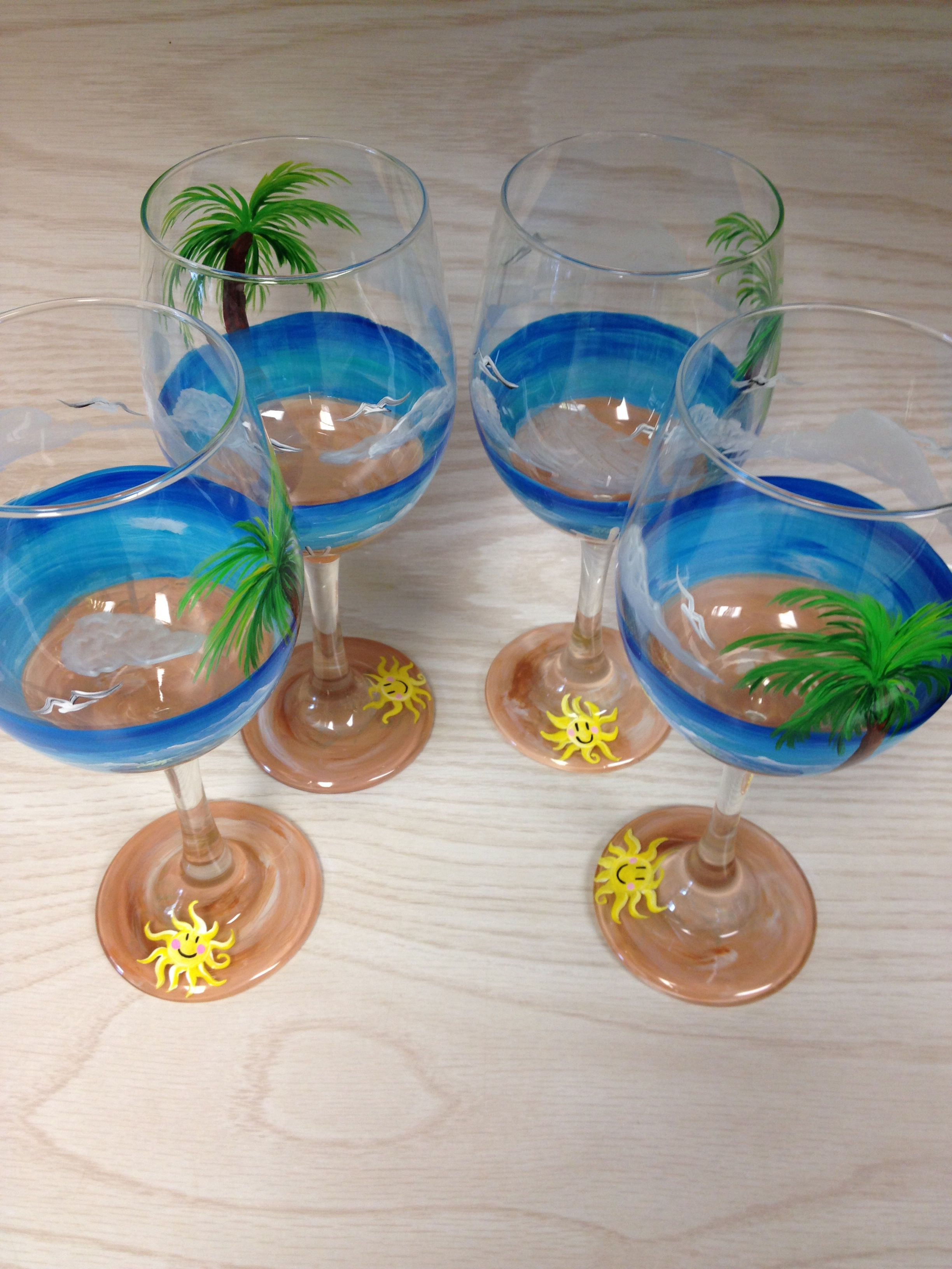 A guided wine glass painting class is a fun activity for