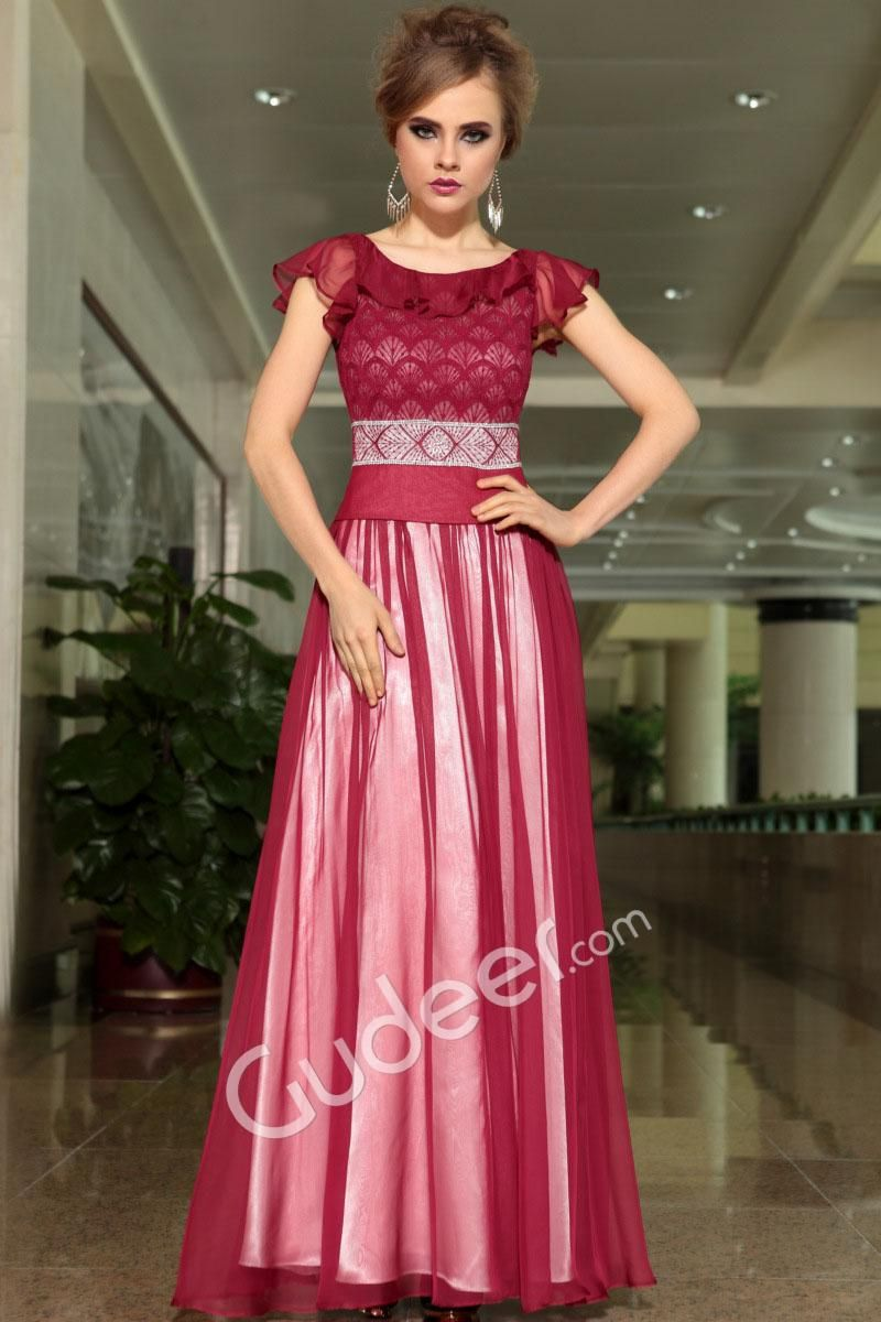 Sheer wine ruffled jewel neck long evening gown with cap sleeve