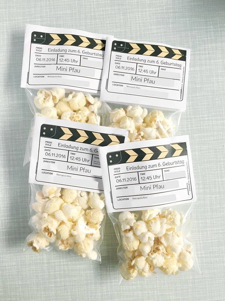 diy einladung kindergeburtstag kino popcorn celebrate kindergeburtstag pinterest. Black Bedroom Furniture Sets. Home Design Ideas