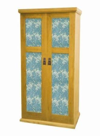 William Morris Arts Crafts Movement Gothic Revival Style 2 Door Oak Bedroom Wardrobe Furniture With Decorative Panels