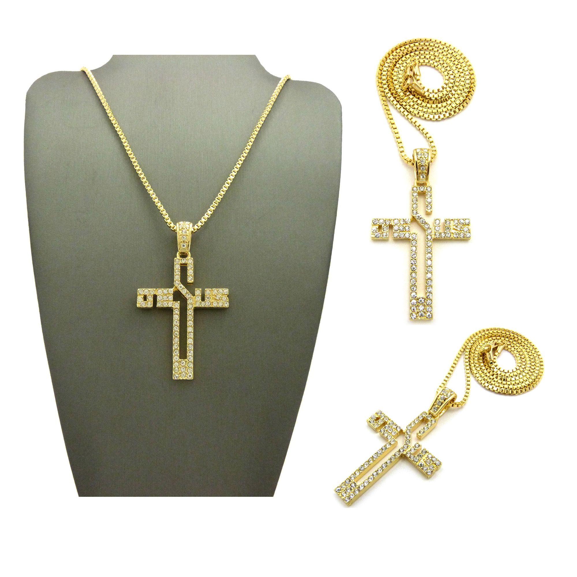 Iced out cross jesus pendant 24 box chain hip hop necklace xqp73bxg aloadofball Images