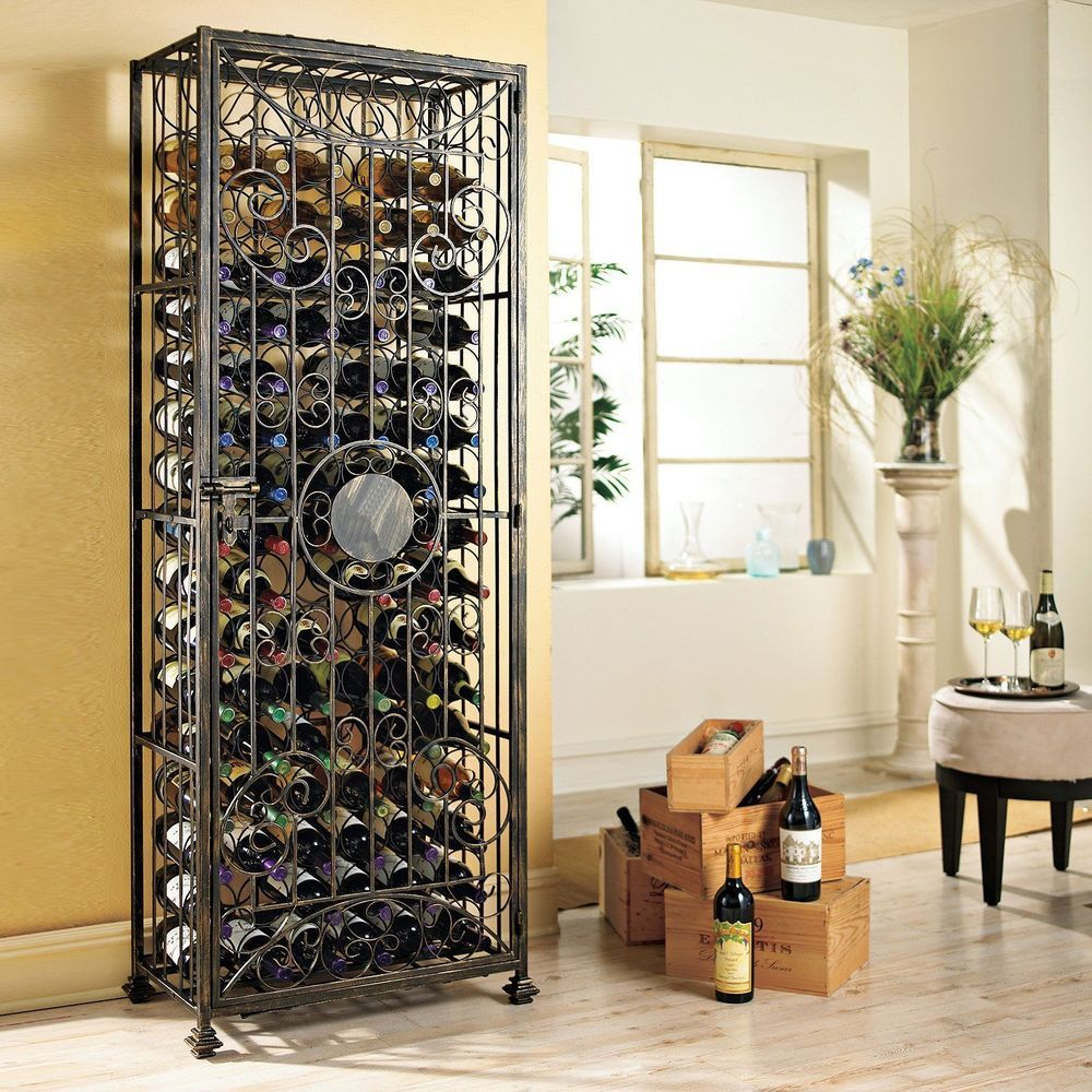 Locked Wine Storage Cabinet Rack Vintage Scrolled Steel Home Bar