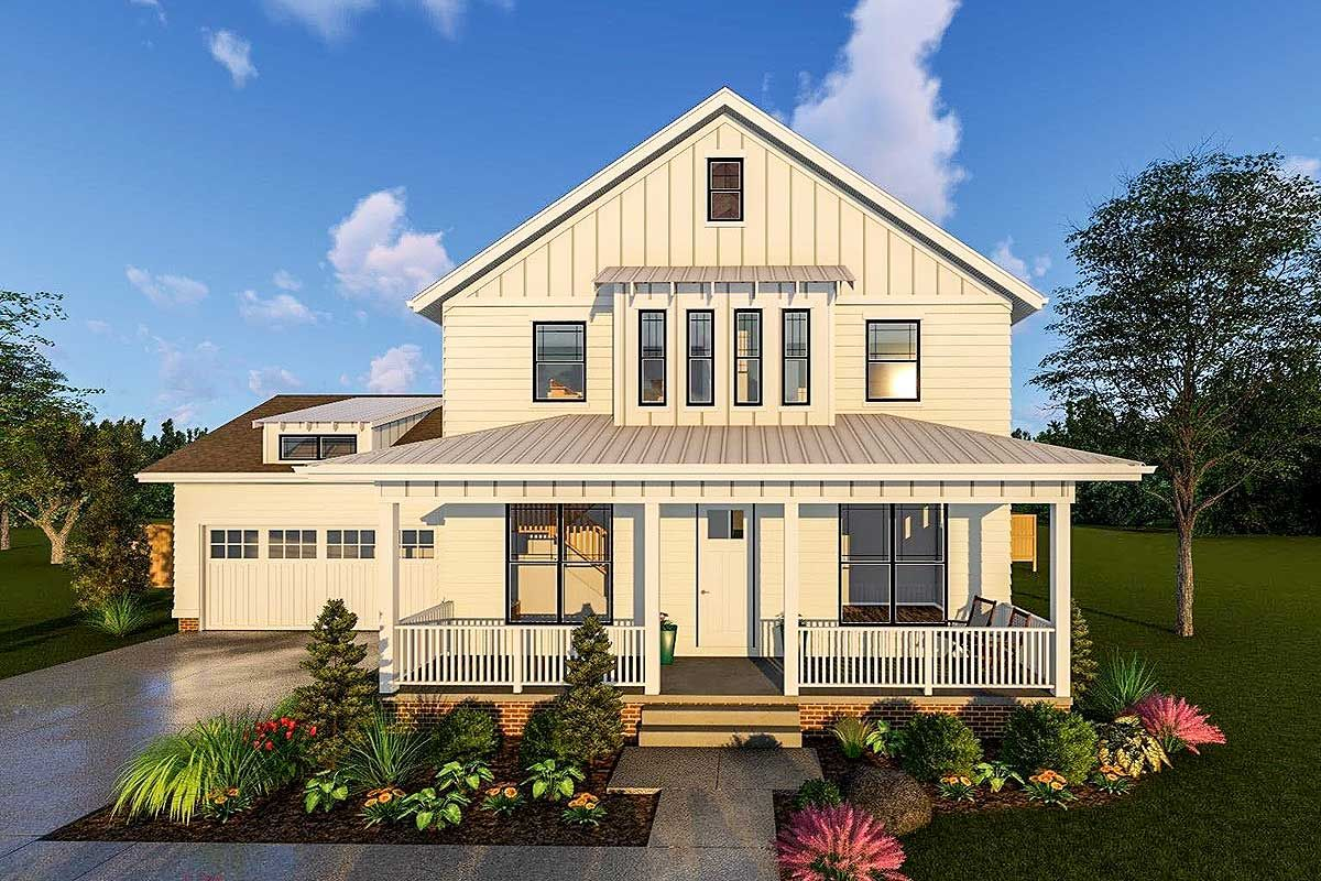 2Story Modern Farmhouse Plan With Front Porch and Rear