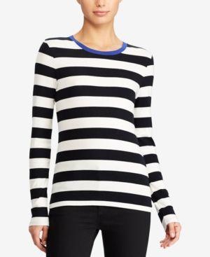b81a20ec0438bc Lauren Ralph Lauren Petite Striped Long-Sleeve T-Shirt - Mascarpone Cream   Polo Black P S