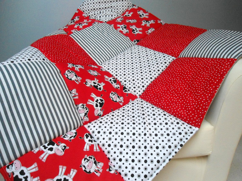 Baby Play Mat Padded Floor Blanket Personalize Cows Red Black ... : baby floor quilt - Adamdwight.com