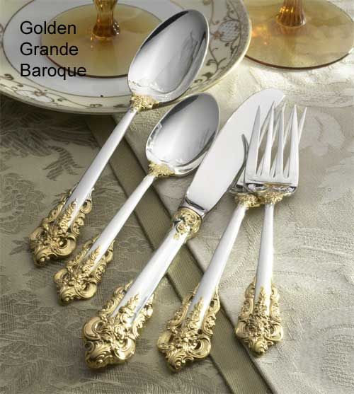 Wallace GOLD ROYAL BEAD Stainless China Golden Accent Front Back Flatware CHOICE