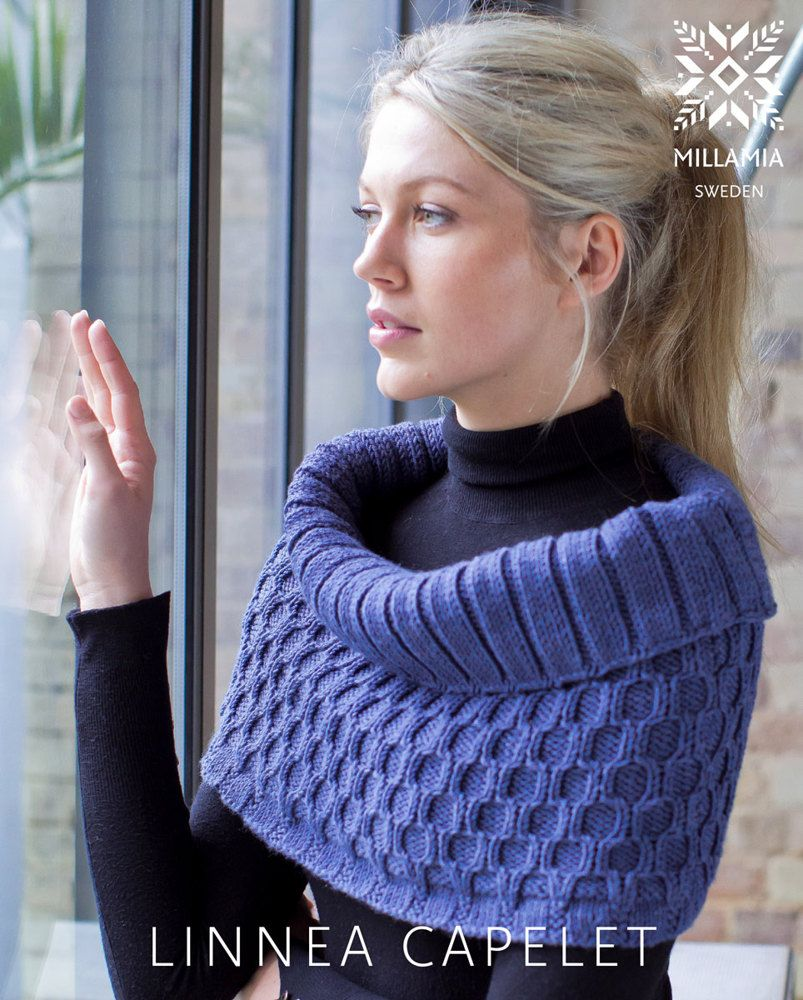 728b79a4c950 Knitting Pattern for Shoulder Cozy Linnea Capelet in MillaMia Naturally  Soft Aran - Downloadable PDF