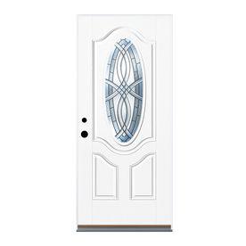 Shop Therma Tru Benchmark Doors Oval Lite Decorative White Prehung Inswing Fiberglass Entry Door Common 32 In X Therma Tru Entry Doors Fiberglass Entry Doors
