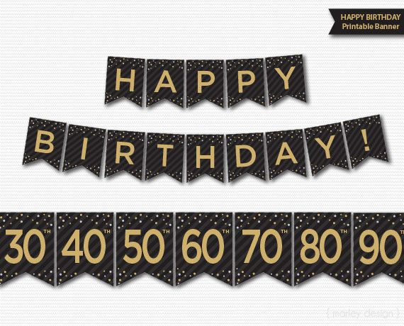 Happy Birthday Banner Printable 30th 40th 50th 60th 70th 80th 90th