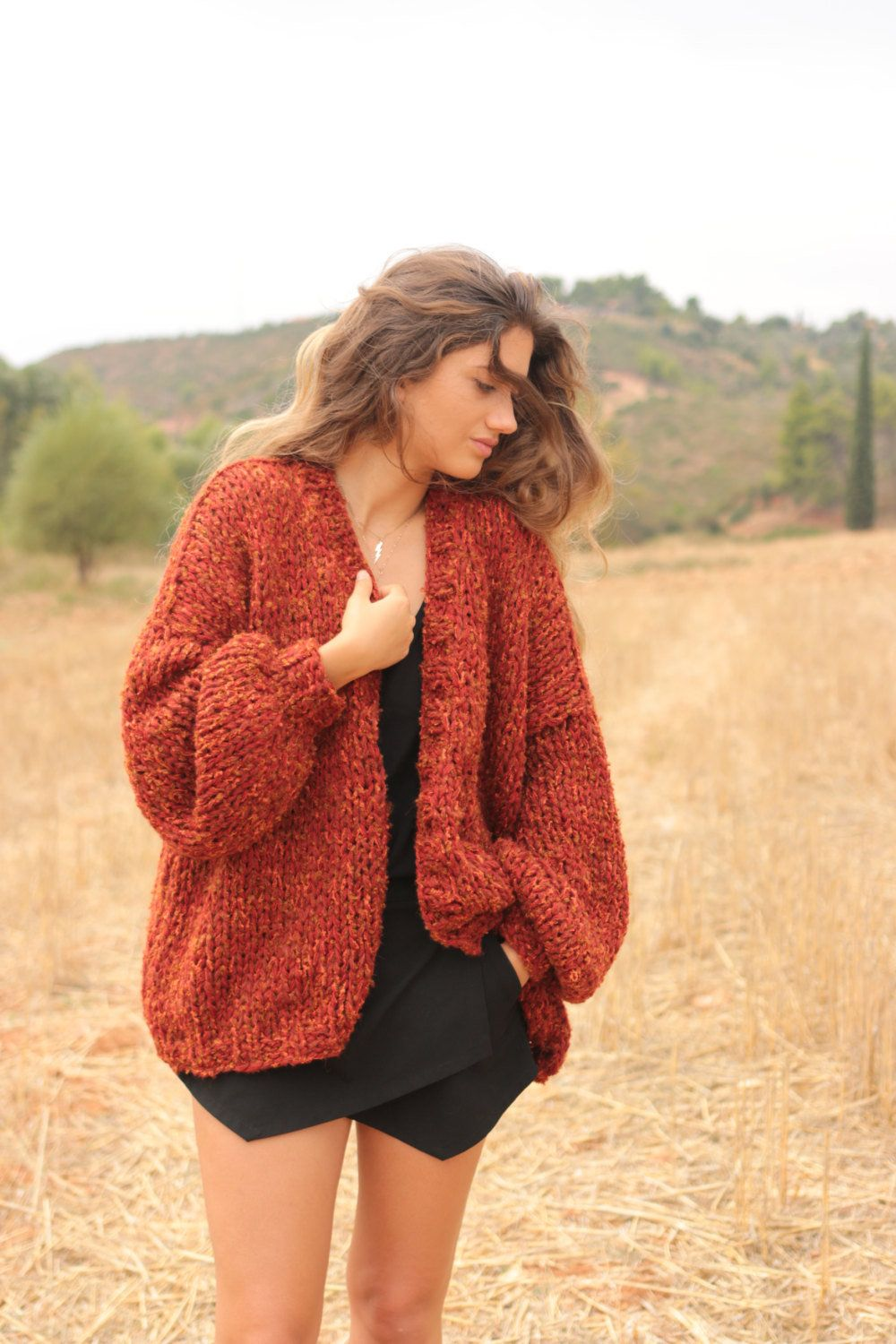 Womens Clothes Chunky cardigan in sienna red tweed oversized sweater loose fitting slouchy cardigan womens casual chunky knit ZSCGJHGLHI