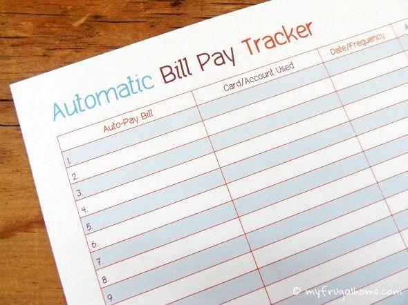 auto bill pay tracker printables pinterest printables