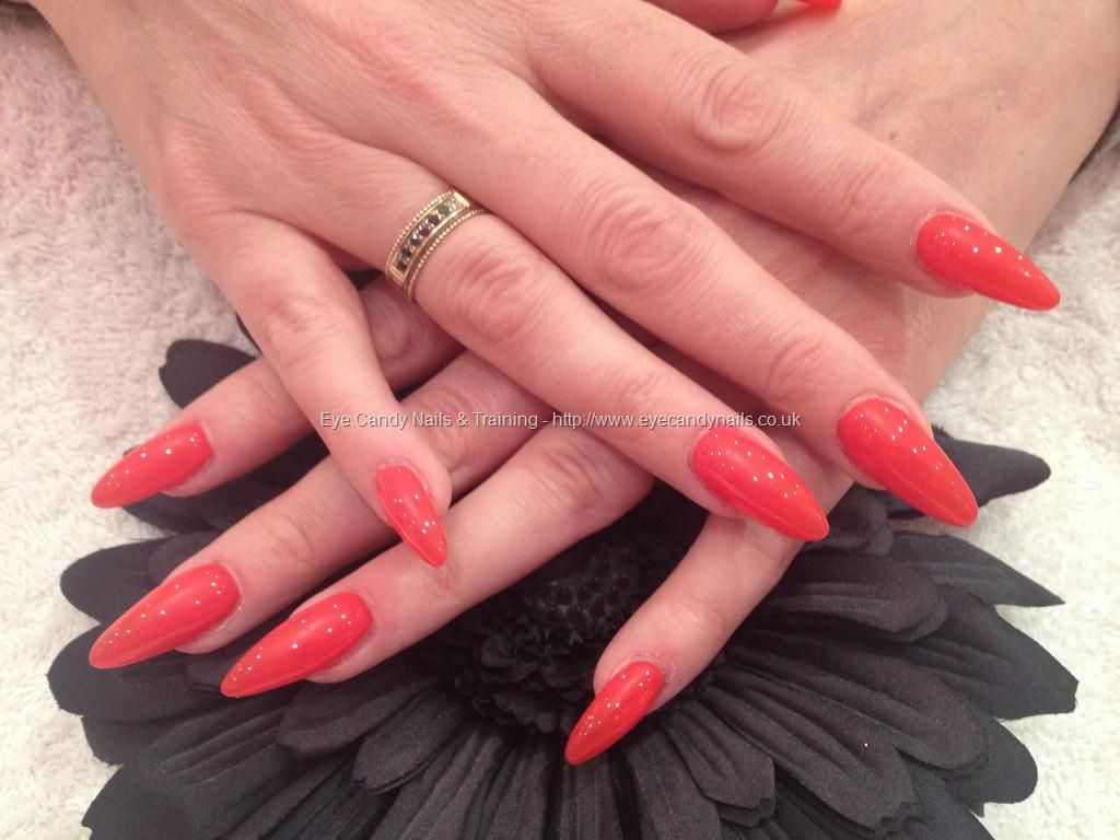 Full set of stiletto acrylic nails with tiger blossom GELISH polish ...
