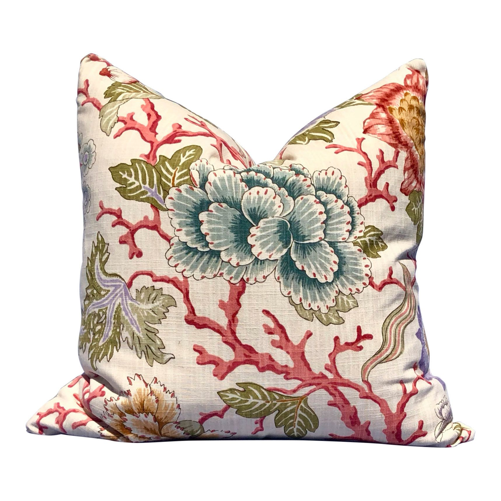 Coral floral pillow cover in cream coral aqua green in