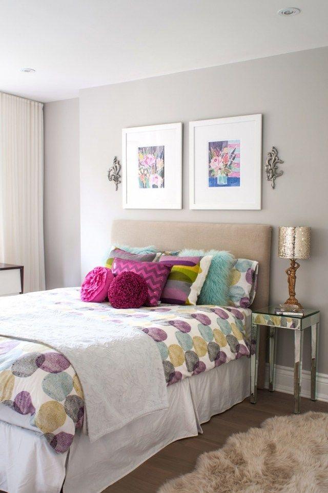 teenager mdchen einrichten graue wandfarbe holzboden lila grn beige akzentfarben - Teenagerinnen Zimmer Wandfarbe