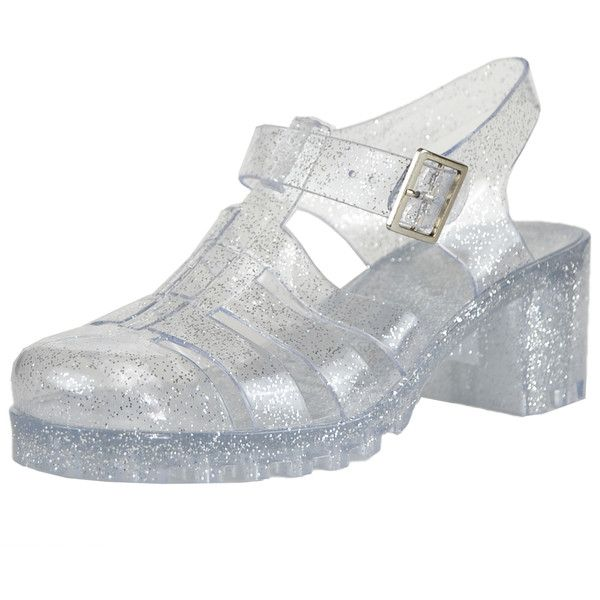 Womens Platform Sandals Jelly Strappy Low Heel Casual Shoes Clear SZ 6  ( 20) ❤ liked on Polyvore featuring shoes