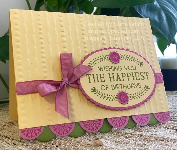 One of the first things that I wanted to try with Stampin' UP!'s new Sweet Sugarplum was a color combination that I previously used with the long retired Orchid Opulence. I used to combine it with So Saffron, Old Olive...