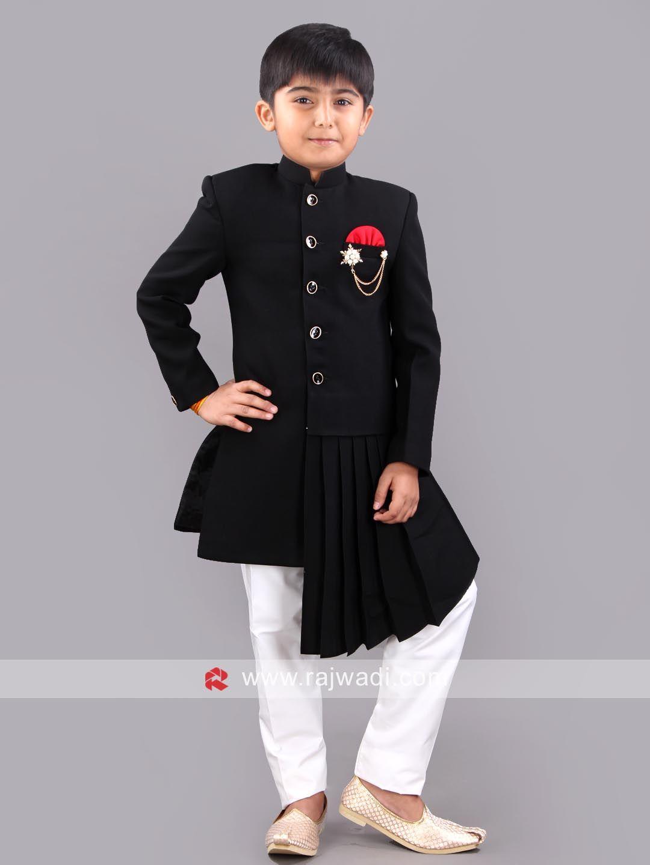 Imported fabric black color kameez with white bottom rajwadi