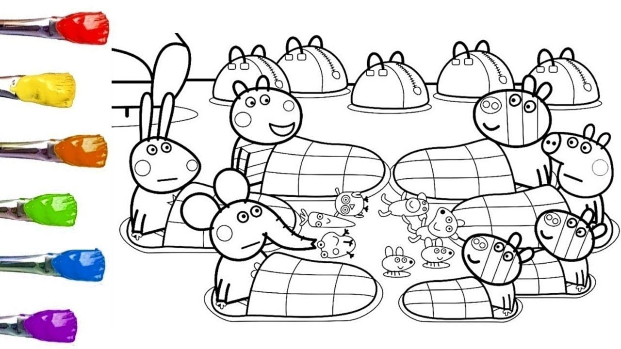 Peppa Pig Friends Coloring Page with Paint - Learning Colors Peppa ...