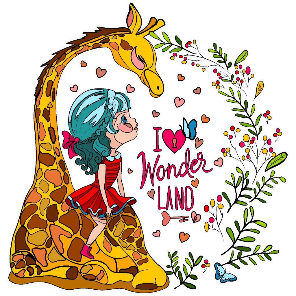 Giraffe with girl | Colouring pics, Coloring book app ...
