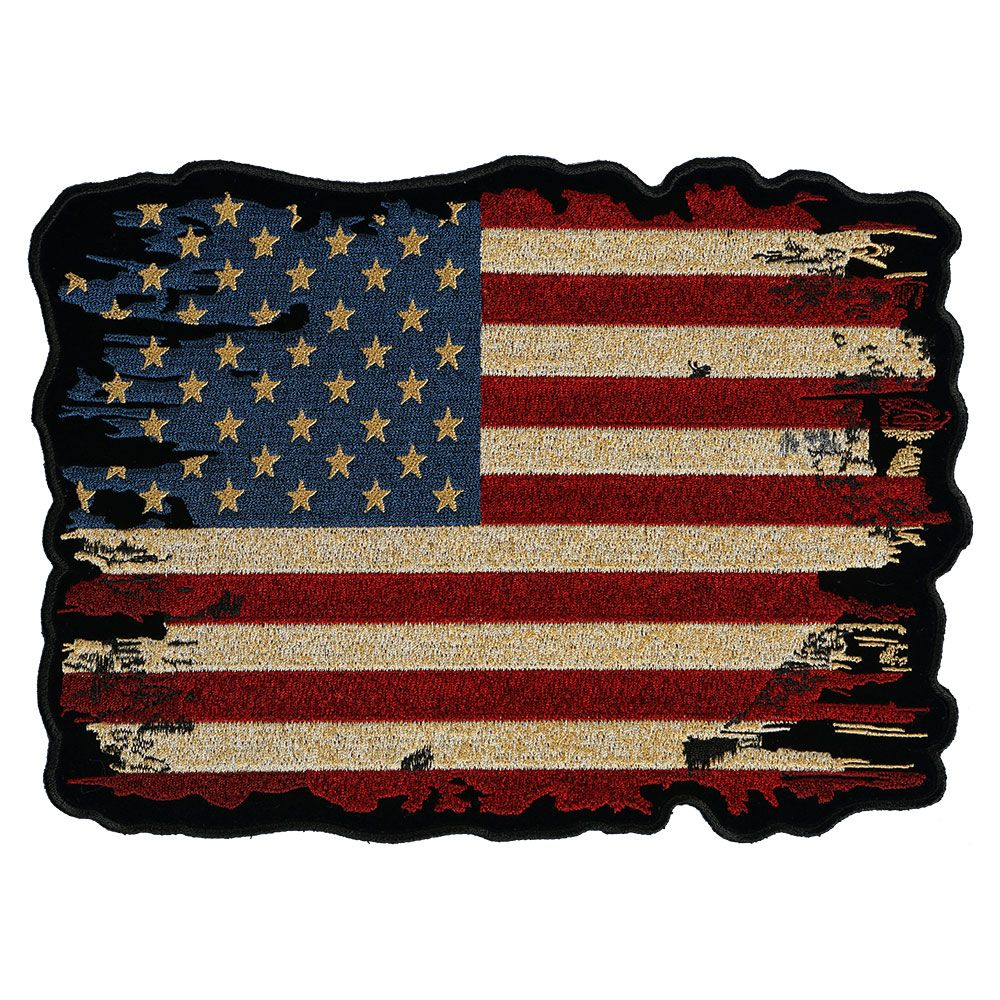 BATTLE DISTRESSED AMERICAN FLAG SMALL Biker Motorcycle Iron-On Embroider Patch
