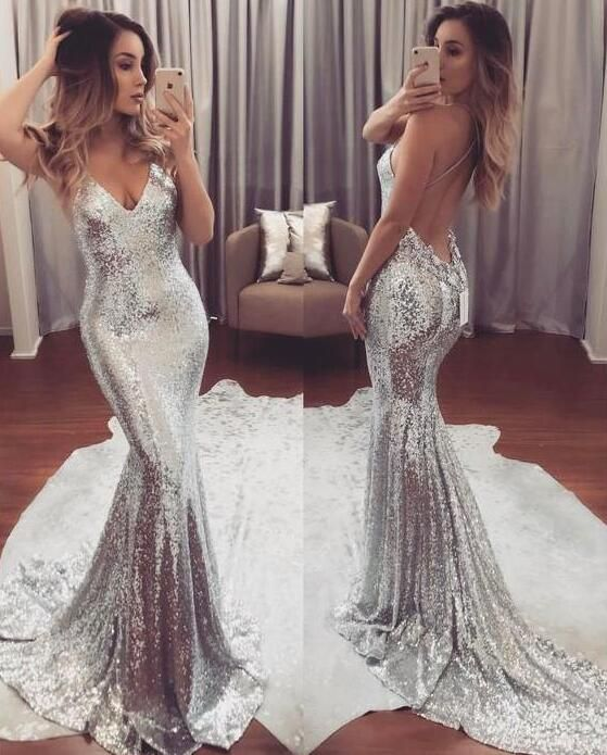silver and white sparkly prom dress 2018