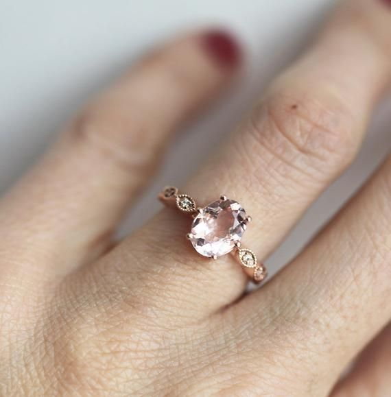 Photo of Oval Morganite and Diamond Engagement Ring in 14k or 18k Solid Gold, 9mm Peach Pink Morganite with a Half Eternity Filigree Band