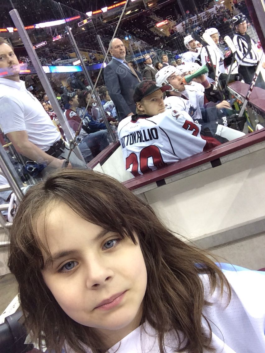 Selfie with the hockey players on the bench...bench shot selfie!