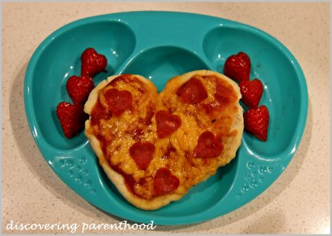 Valentine's Day as a family. With heart shaped pizza and strawberries.