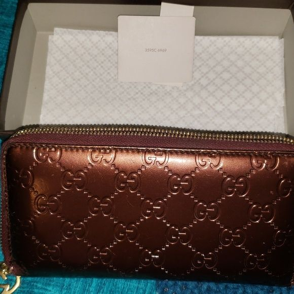 be341a1833 Brandy gucci wallet (Authentic) with controllato card Gucci Bags Mini Bags