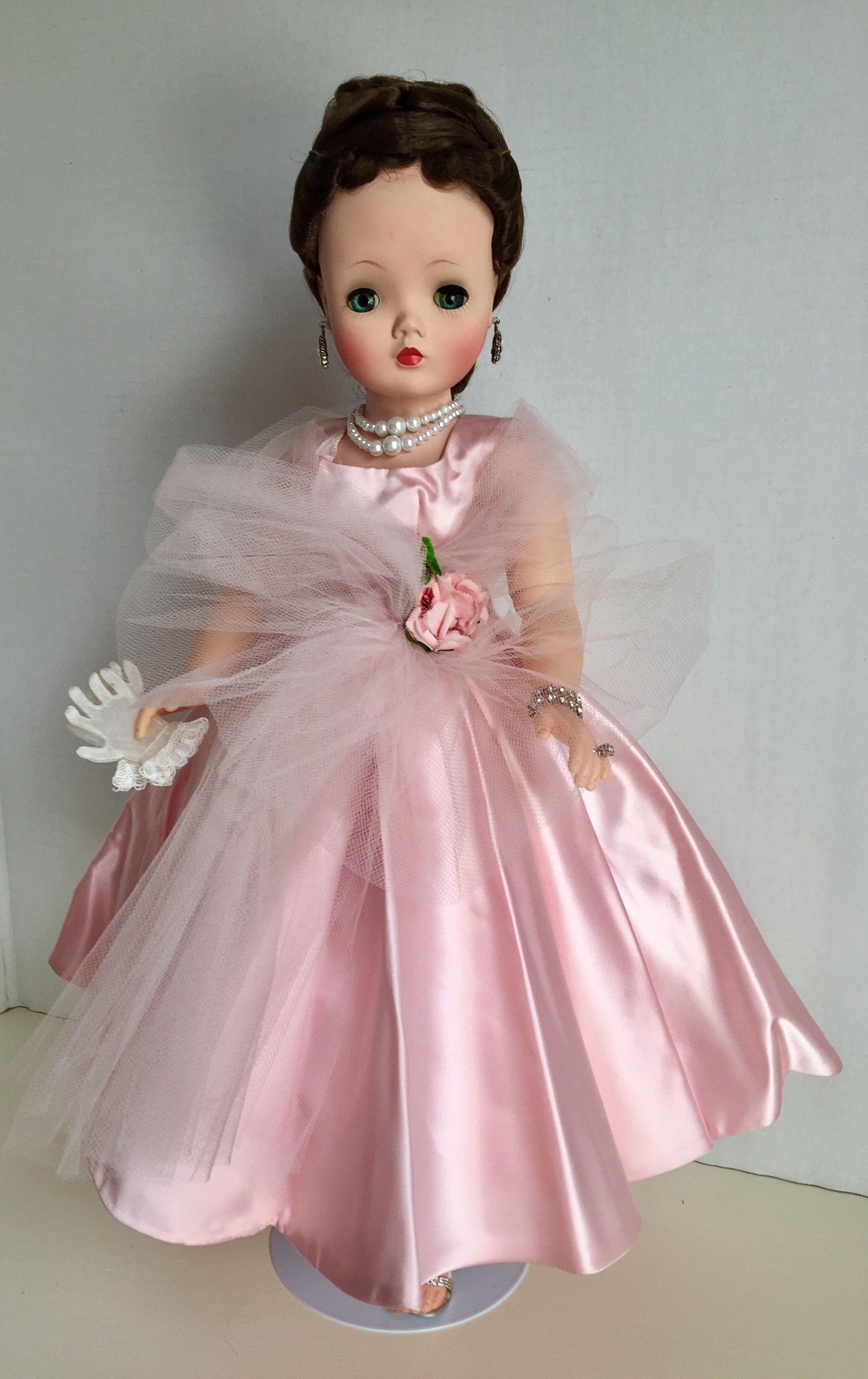 1958 pink satin dancing dress | Madame alexander dolls | Pinterest