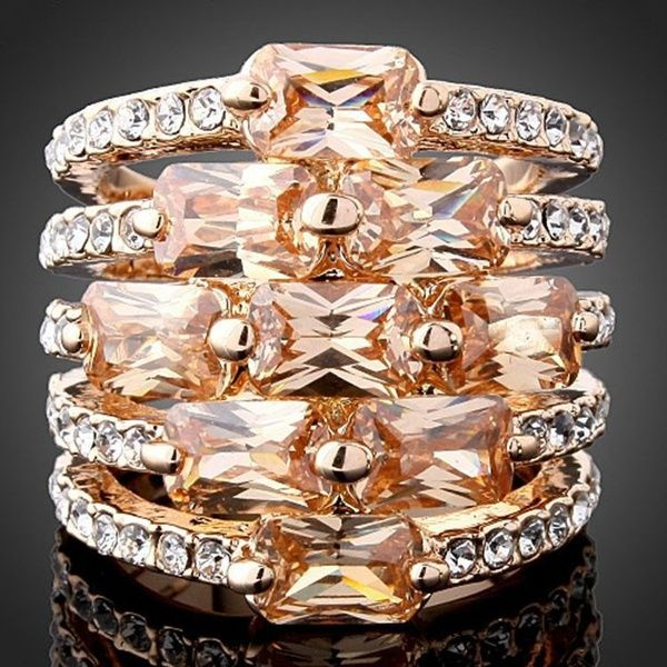 Wish | Women's/men's Fashion Hot Sale Newest Jewelry Wholesale Zircon Crystal Diamond Luxury Engagement Rose Gold Champagne/silver/ruby Gemstone Ring