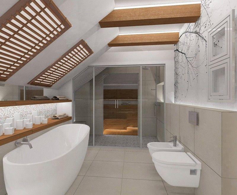 Fototapete mit Baumzweigen im kleinen Badezimmer mit Dachschräge ...