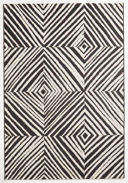In  Und Outdoor Teppich Schwarz Weiß Gemustert 120x170 Cm, Flachgewebe
