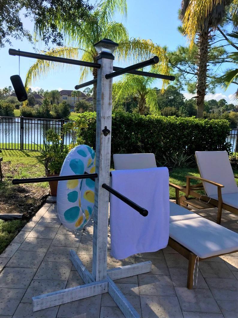Pool Towel Tree Pool towels, Towel rack pool, Pool towel