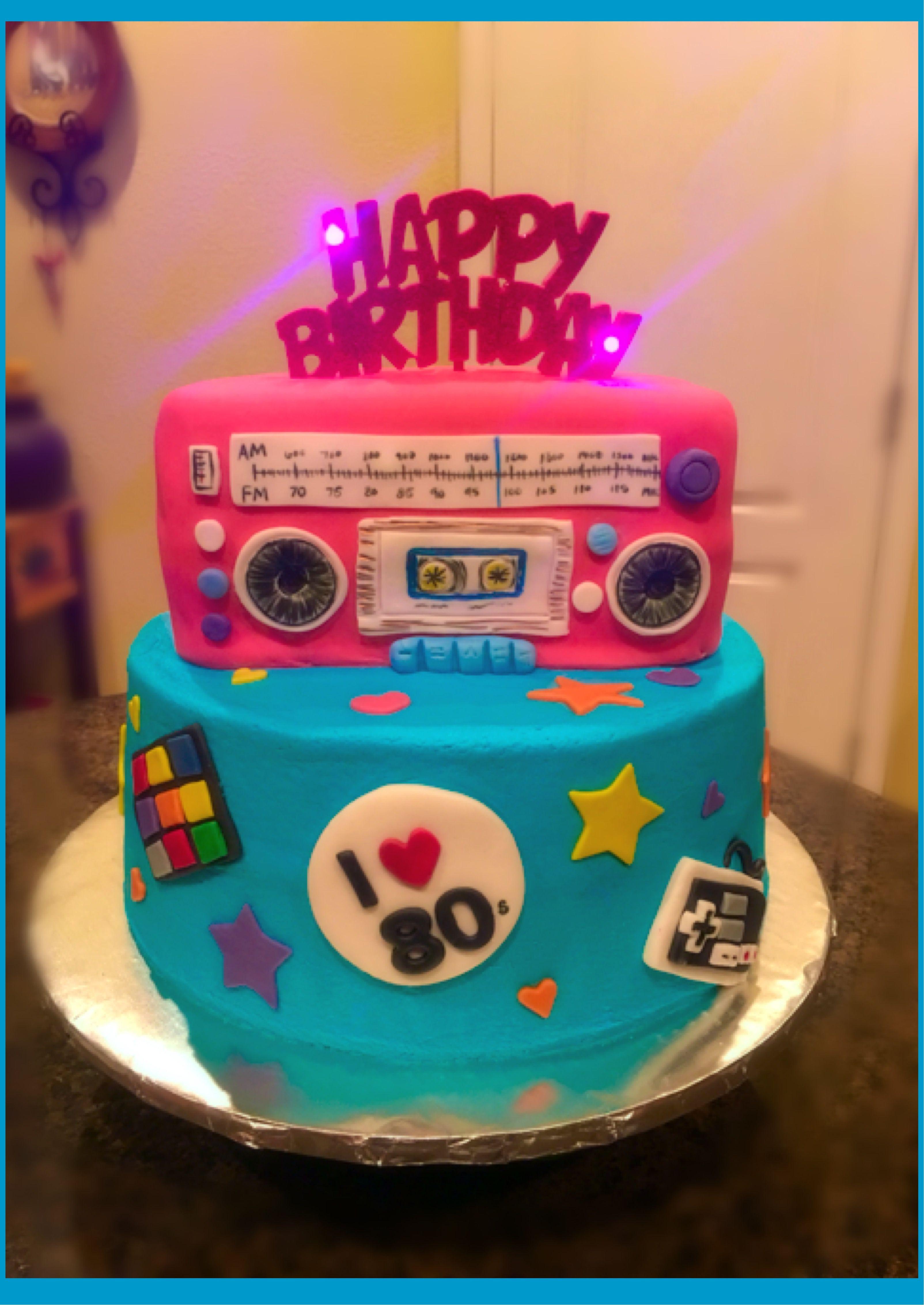 Pleasant 80S Boombox Birthday Cake Neon Birthday Cakes 80S Birthday Birthday Cards Printable Riciscafe Filternl