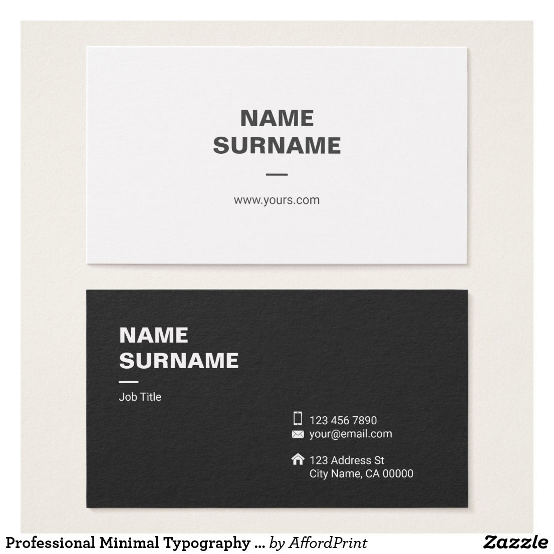 Professional Minimal Typography Business Card Zazzle Com