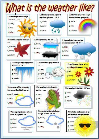 English stuff ESL: WEATHER worksheet | basak | Pinterest | Englisch ...
