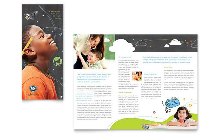 Education Foundation And School Tri Fold Brochure Template Design By