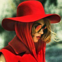 Red Wool Floppy Hat by American Apparel
