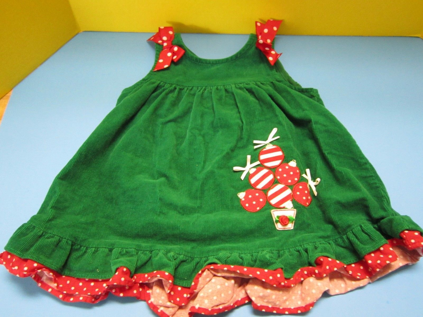 Nice Awesome VGUC Boutique Baby Rare Editions Green Christmas Dress