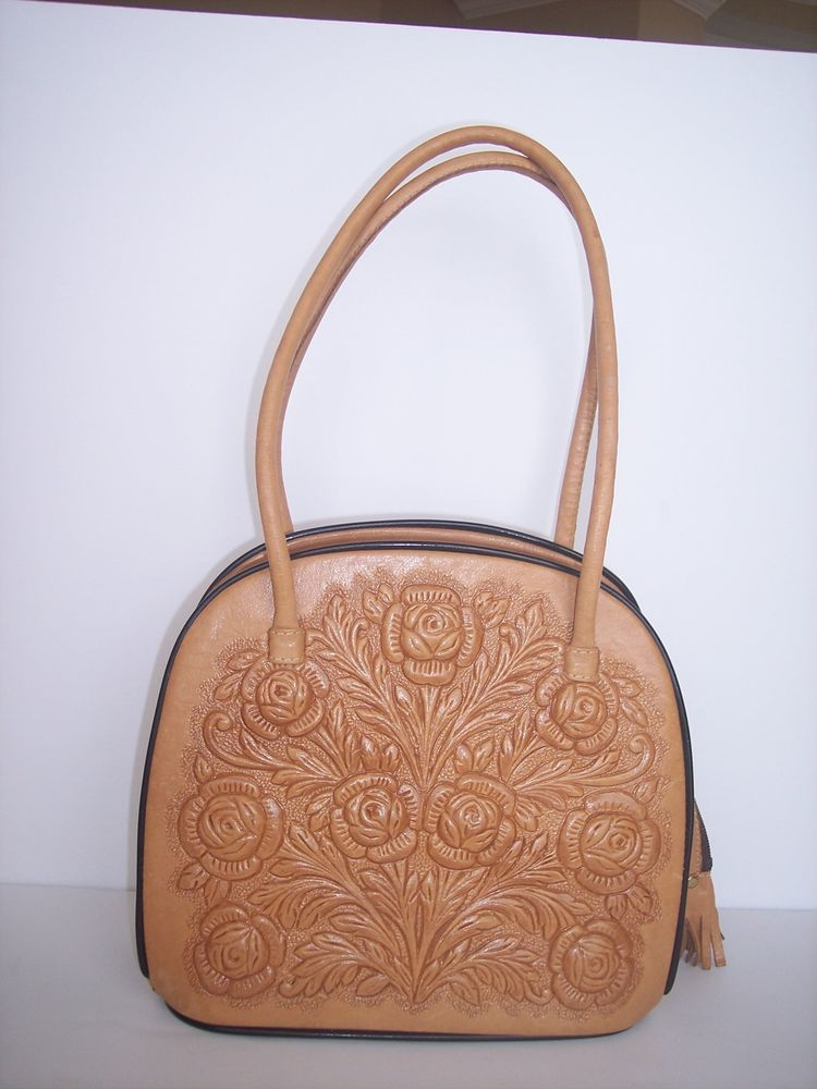 MONT ABUR HAND TOOLED LEATHER ROSE EMBOSSED SATCHEL PURSE MADE IN MEXICO #MontBur #Satchel