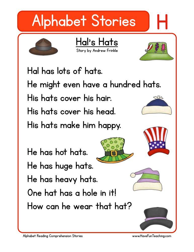Alphabet Stories Comprehension H Reading Comprehension Kindergarten Phonics Reading Reading Comprehension