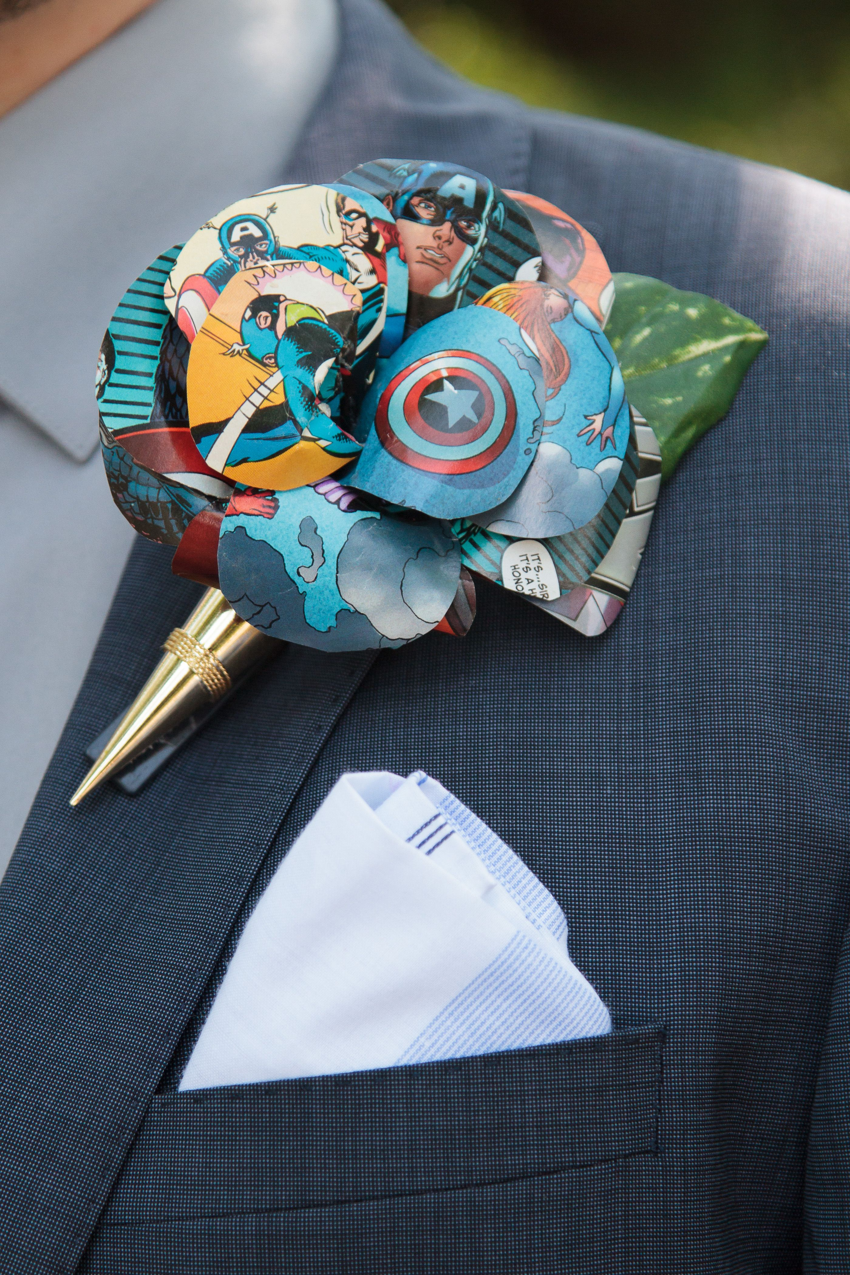 Comic Book boutonniere// buttonhole flower Customise to your favourite superhero