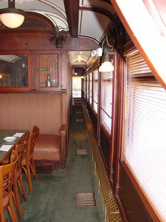 Interior of train car restored as restaurant Vonachens Junction