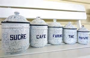 Set French Vintage Antique Enamel Kitchen Canisters Blue White