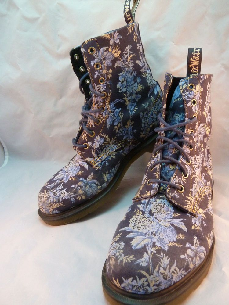 Dr Doc Martens Beckett Boots Air Wair Blue Jouy Floral Canvas 8 Eye Size 12  US
