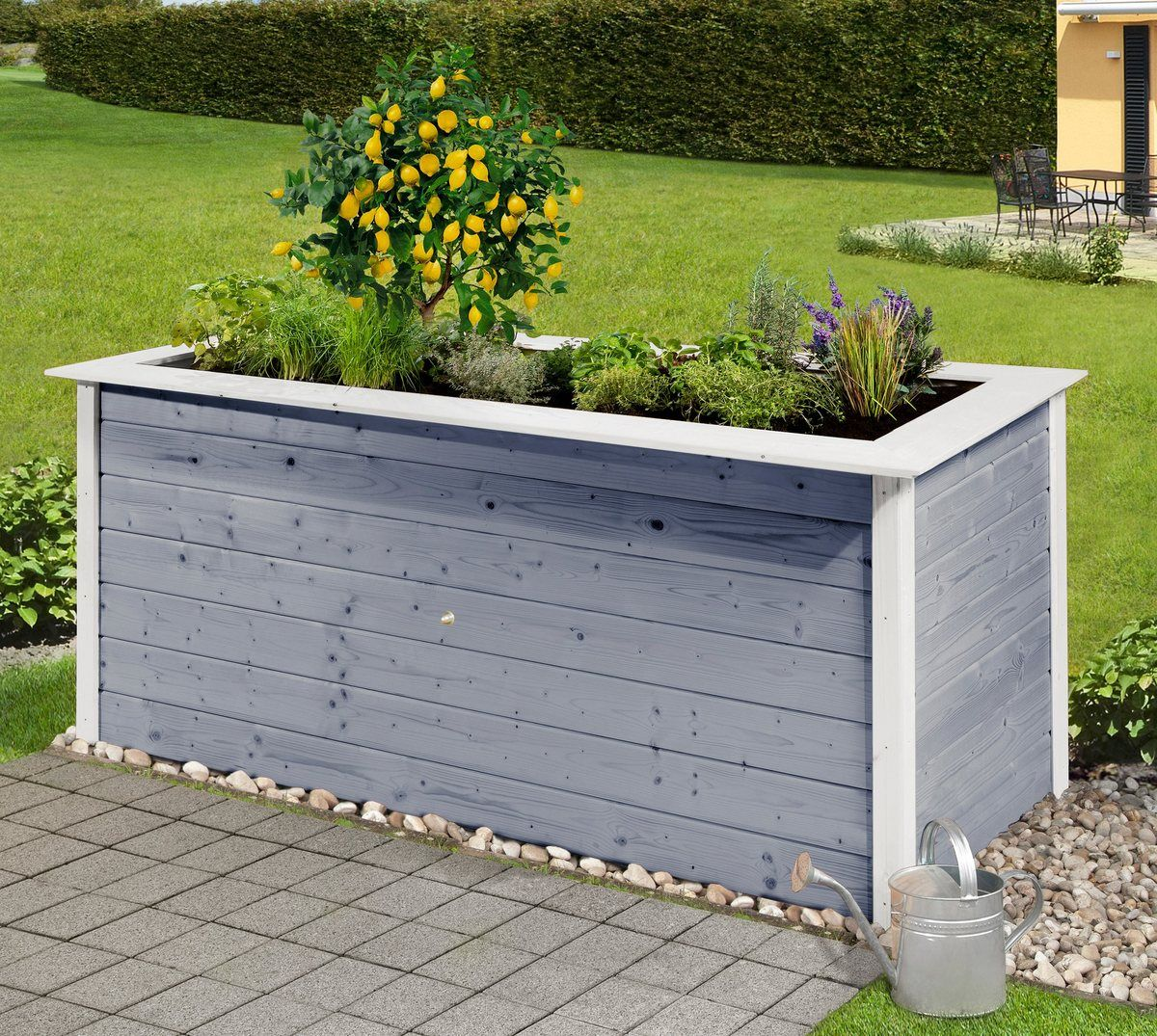 Hochbeet B T H 205 80 81 Cm Grau Weiss Hochbeet Outdoor